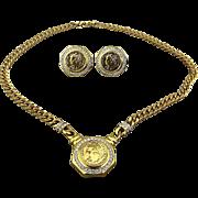 Vintage Coin Set Necklace - Earrings Faux Gold - Diamonds