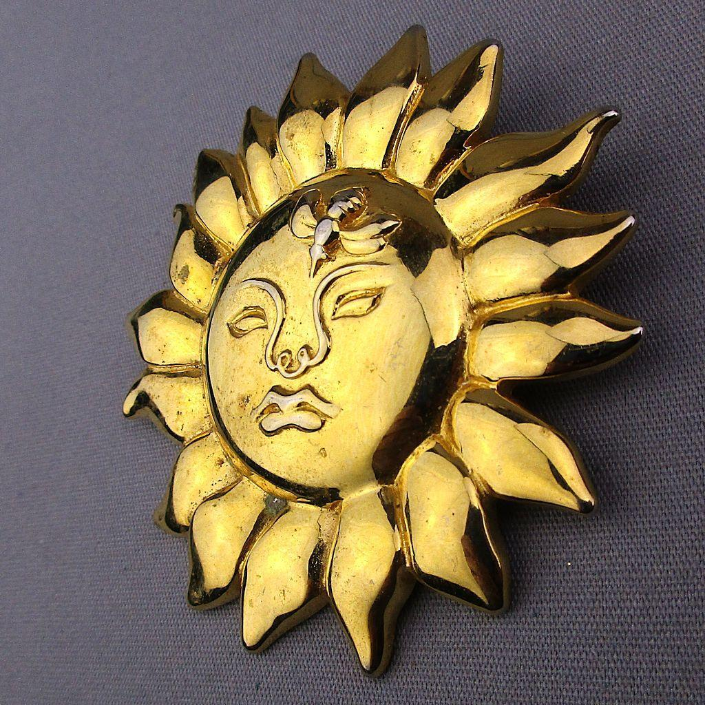 Vintage 1990 MMA Metropolitan Museum of Art Sun Face Bee Brooch Pin Pendant