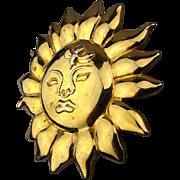 Vintage 1990 MMA Metropolitan Museum of Art Sun Face Bee Brooch Pin Pendant