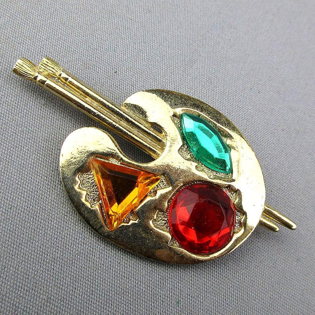 Signed Vintage Artist Palette Pin w/ Faux Gems as Paint