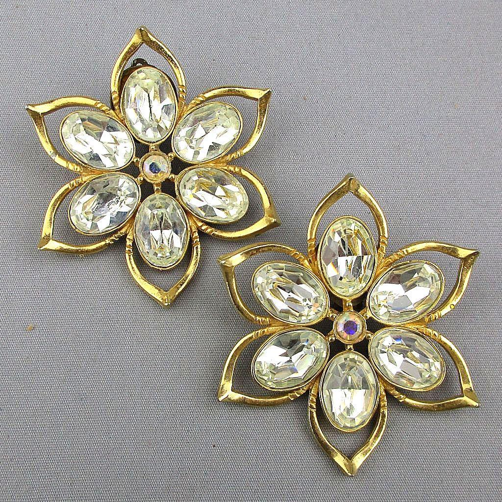Couture Richard Serbin XL Flower Rhinestone Earrings