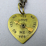 Vintage ~ Love Spinner ~ Brass Heart Pendant Necklace Spins Yes or No