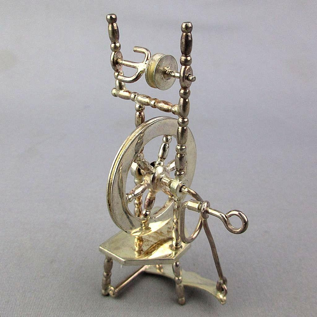 European 835 Silver Miniature Doll House Spinning Wheel Hendrik Hooykaas Works