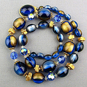 Vintage Lucite Moonglow Bead Necklace Blue / Gold Beads