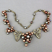 Signed Schiaparelli Faux Pearl AB Rhinestones Grapes Leaves Necklace