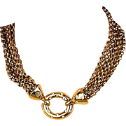 Vintage Givenchy Gold Tone Chains Necklace w/ Rhinestone Clasp