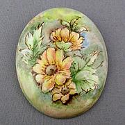 Vintage Hand-Painted Floral Porcelain Pin Signed Brooch