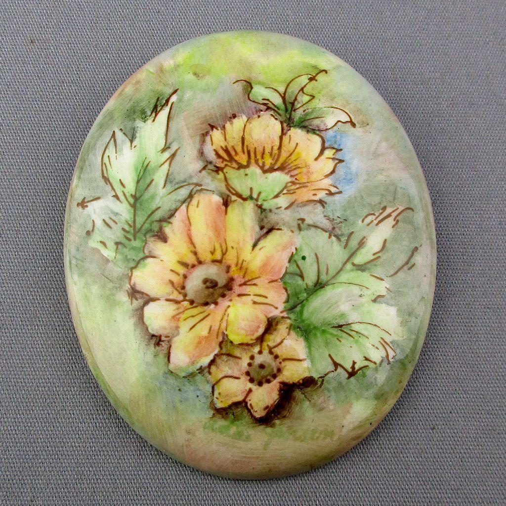 Vintage Hand-Painted Floral Porcelain Pin Signed Brooch