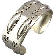 Vintage Sterling Silver Pawn Cuff Bracelet w/ Whirling Log