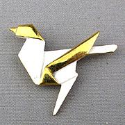 Vintage TRIFARI Origami Bird Pin Modernist Enamel