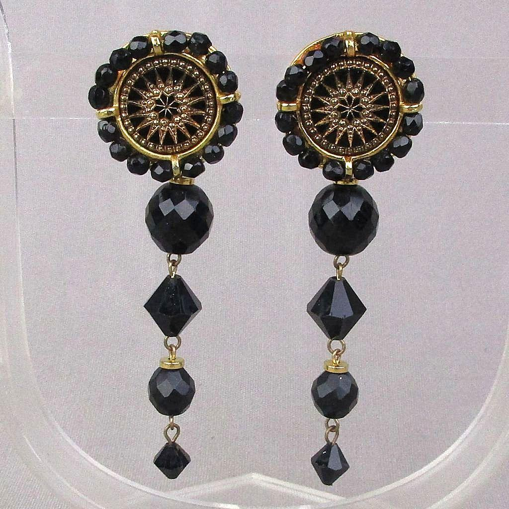 Signed Jet Black Glass Bead Clip Earrings Dangles