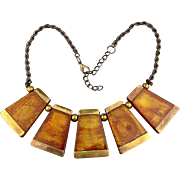 Vintage Lucite Necklace Unusual Gilt Dangles