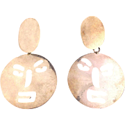 Modernist Taxco Sterling Silver Cut-Out Face Earrings - Big Mexican Dangles