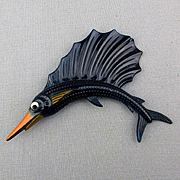 Vintage Painted Plastic Sailfish Pin Celluloid See-Thru Jumper