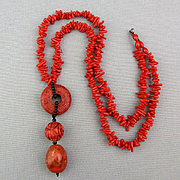 Vintage Red Coral Sponge Coral Bead Necklace