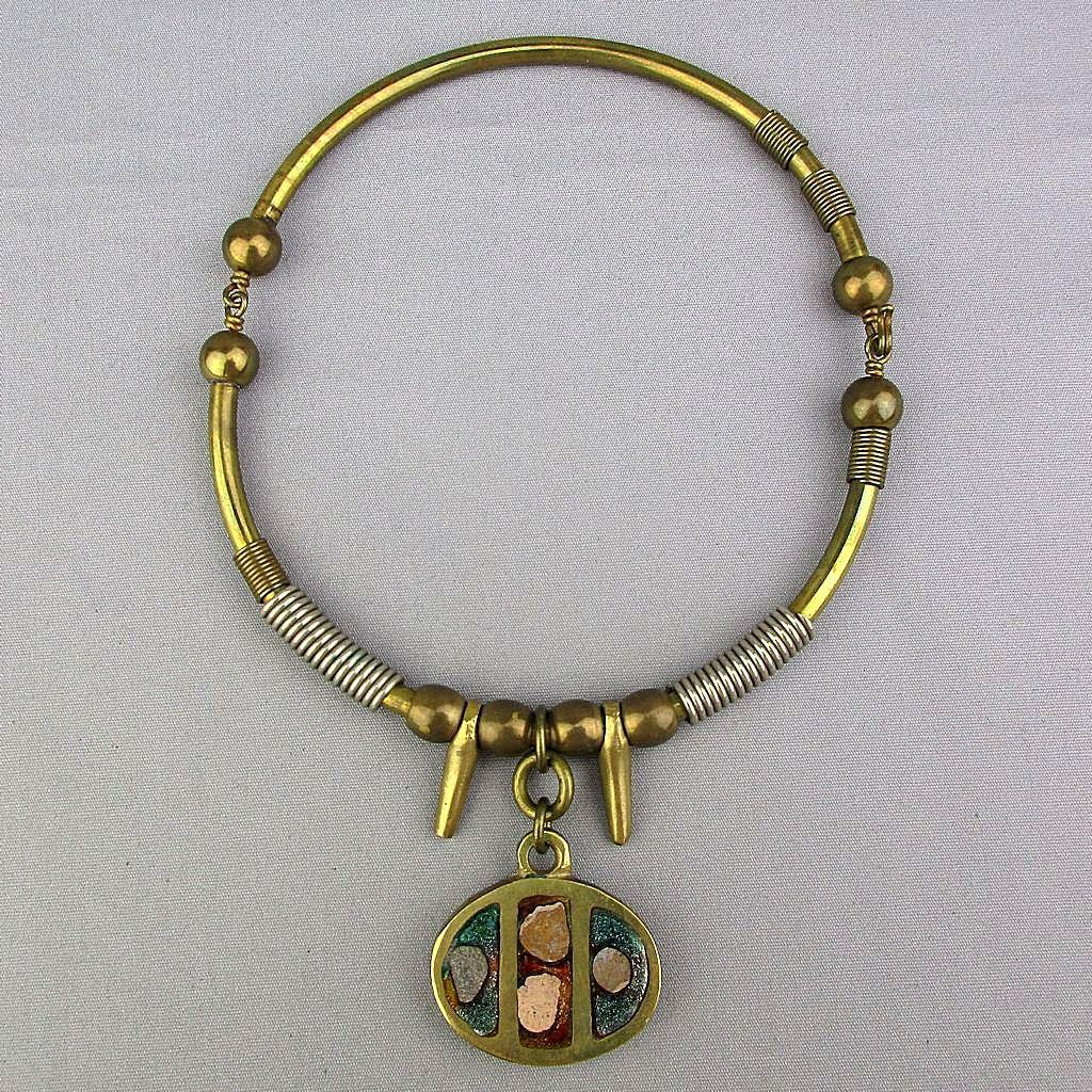 Vintage Grecian Handmade Solid Brass Necklace w/ Inlay