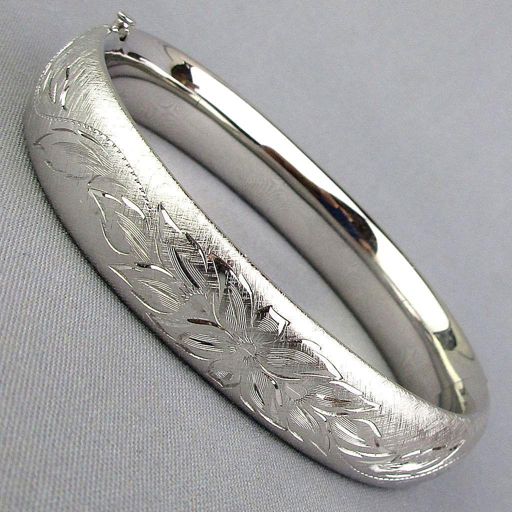 Fine Sterling Silver CARLA Etched Hinge Bangle Bracelet
