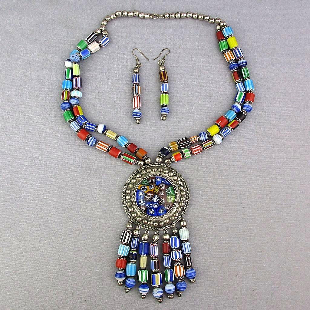 Colorful Vintage Tribal Glass Bead Necklace Earrings Set Stripes