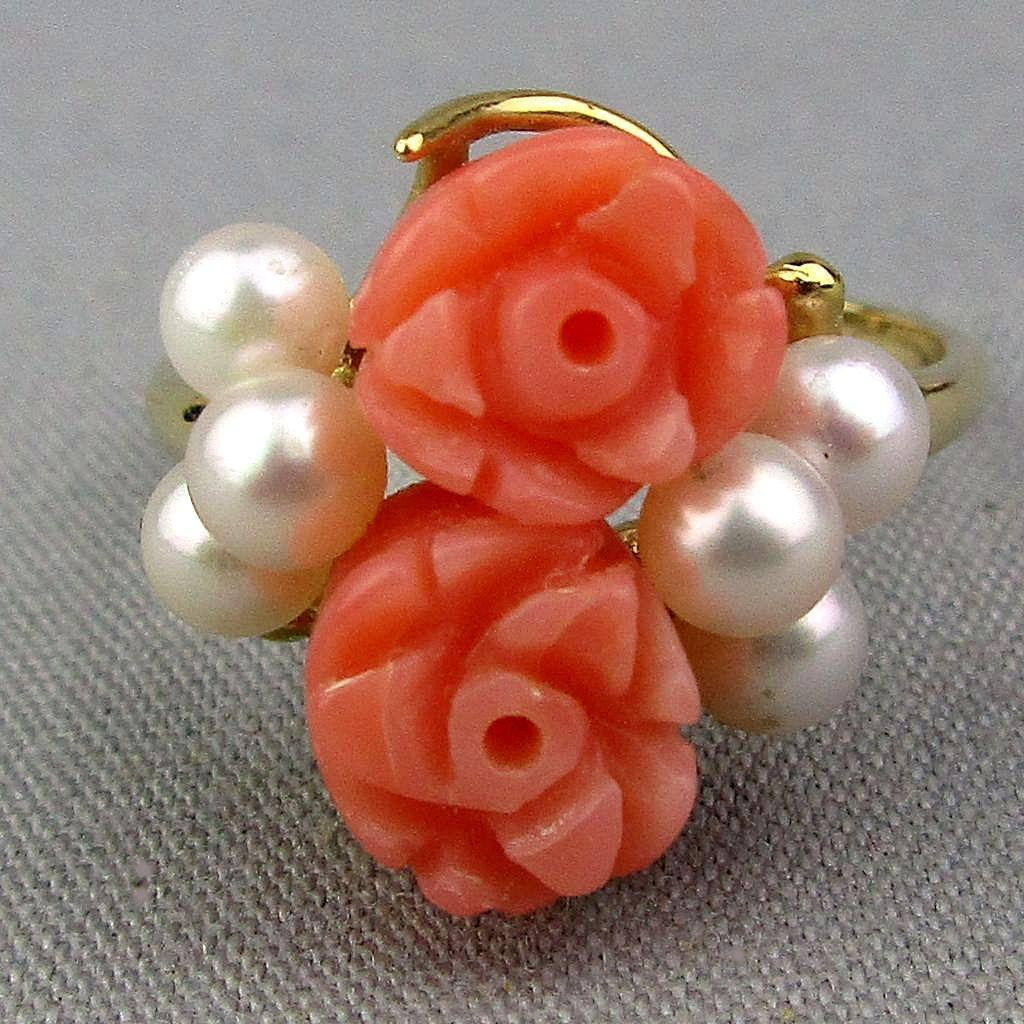 14K Gold Carved Angel Skin Coral Pearl Ring Roses