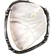 Huge Palm Size Sterling Silver Pearl Shell Pin Brooch Fantastic