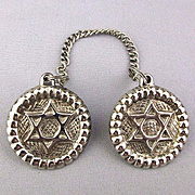 Vintage Star of David Tallit Clips Heavy Silver Tone Judaica