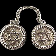 Vintage Star of David Tallit Clips Heavy Silver Tone Judaica