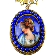 Victorian Woman Porcelain Cameo Pendant Necklace