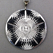 Vintage Etched Aluminum Pendant Necklace Kinetic Effect