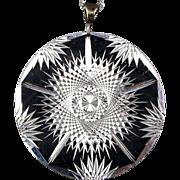 Vintage Etched Aluminum Pendant Necklace Kinetic Effect