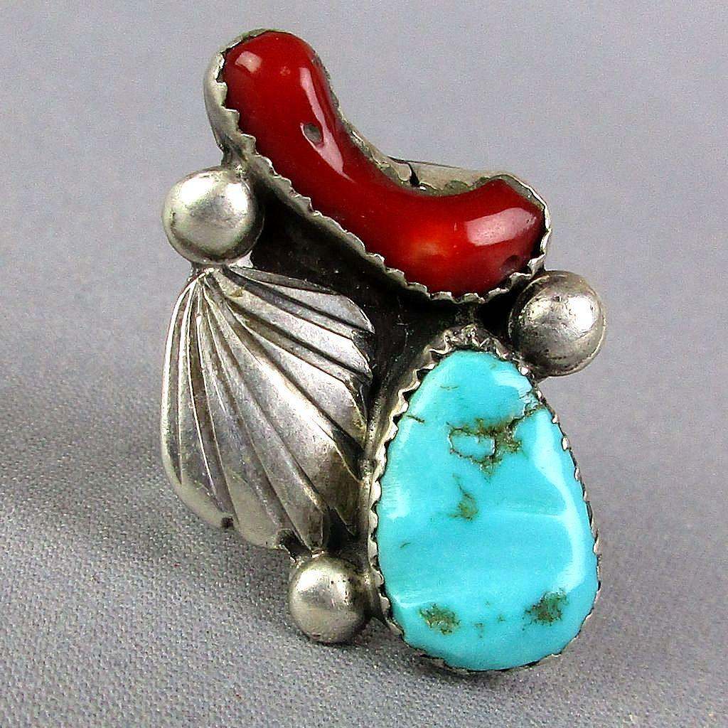 Vintage Navajo Sterling Silver Ring Turquoise - Red Coral