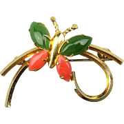 Vintage Gold-Filled Butterfly Pin Jade / Coral Wings