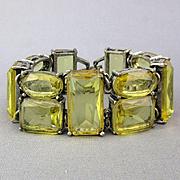 Vintage Big Clear Lemon Glass Rhinestone Bracelet