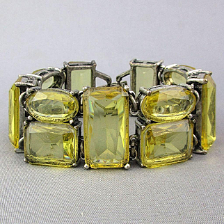 Vintage Big Clear Lemon Glass Rhinestone Bracelet