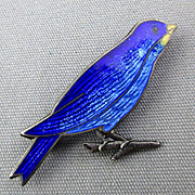 Old Sterling Silver Enamel Bluebird of Happiness Pin Brooch