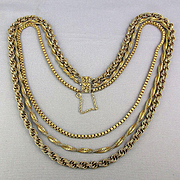 1950s MIRIAM HASKELL Antiqued Gilded Multi-Chain Necklace