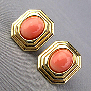 Vintage 14k Gold Angel Skin Coral Earrings Pierced