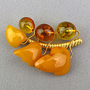 Old Baltic Amber Pin Brooch - Egg Yolk and Honey
