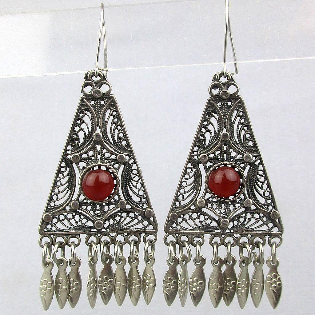 Vintage Sterling Silver Filigree Dangle Earrings w/ Carnelian