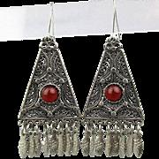 Vintage Sterling Silver Filigree Dangle Earrings w/ Carnelian