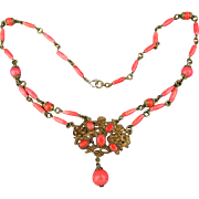 Vintage 1930s Czech Coral Glass Necklace