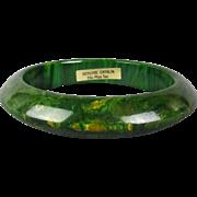 Vintage Marbled Catalin Bakelite Bangle Bracelet w/ Orig. Tag