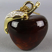 Vintage Amber Lucite APPLE Pendant Necklace w/ Rhinestone Leaf