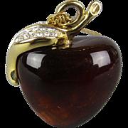 Vintage Amber Lucite APPLE Pendant Necklace w/ Rhinestone Leaf