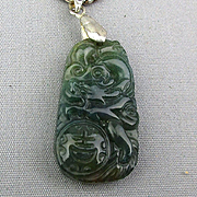 Old Carved Jade Pendant on Thick Sterling Chain Necklace