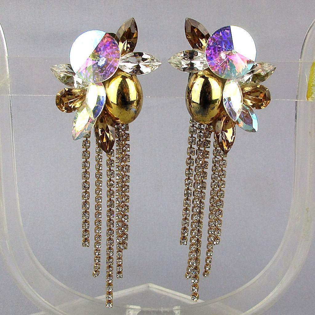 Vintage 1980s Big Drippy Rhinestone Clip Earrings Aurora Borealis