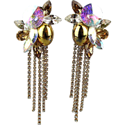 Vintage 1980s Big Drippy Rhinestone Clip Earrings Aurora Borealis