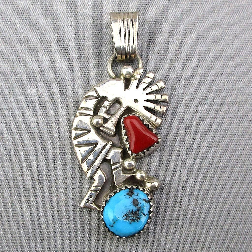 Vintage Kokopelli Flute Player Pendant - Sterling Silver Turquoise Red Coral