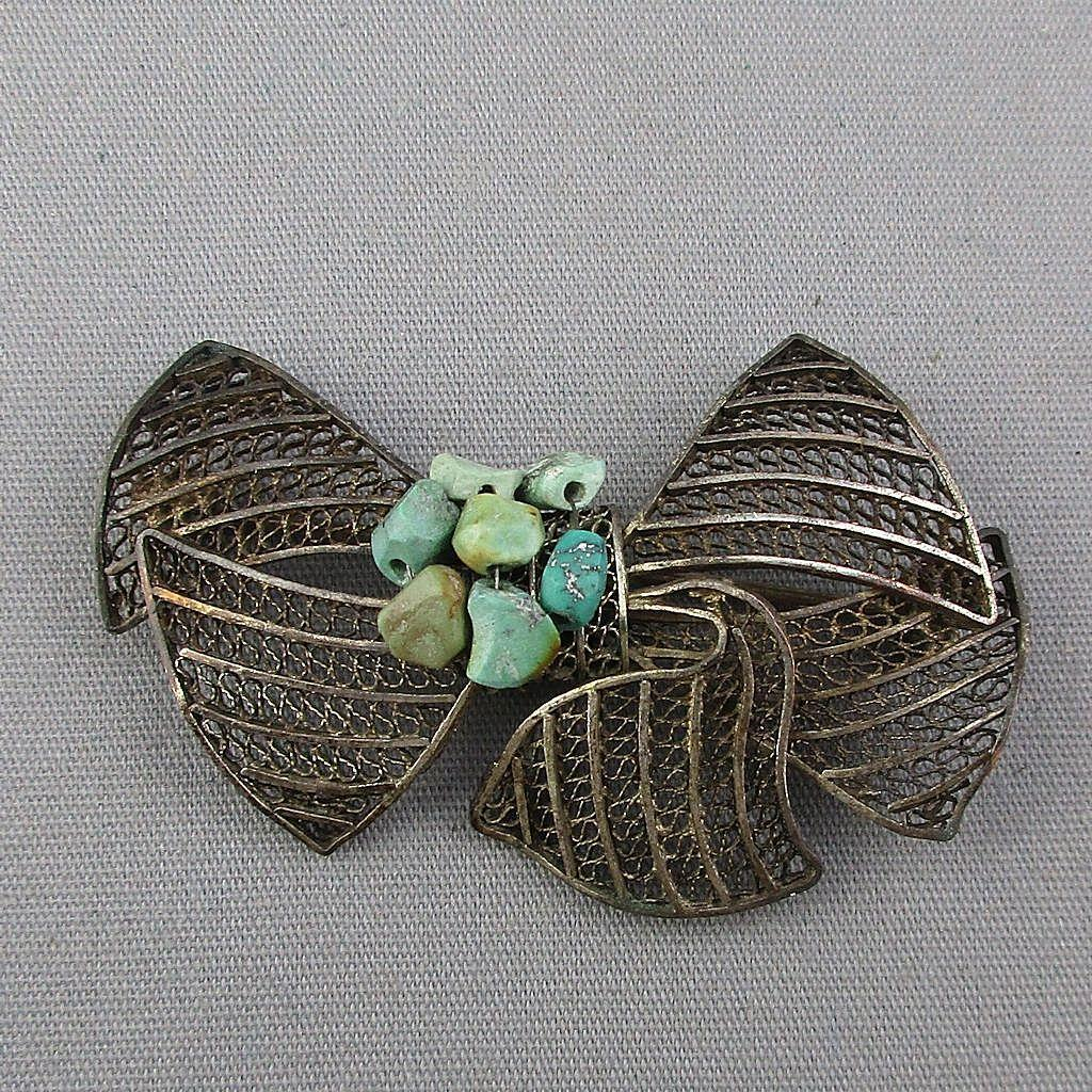 Old Chinese Export Silvertone Turquoise Bow Pin Filigree