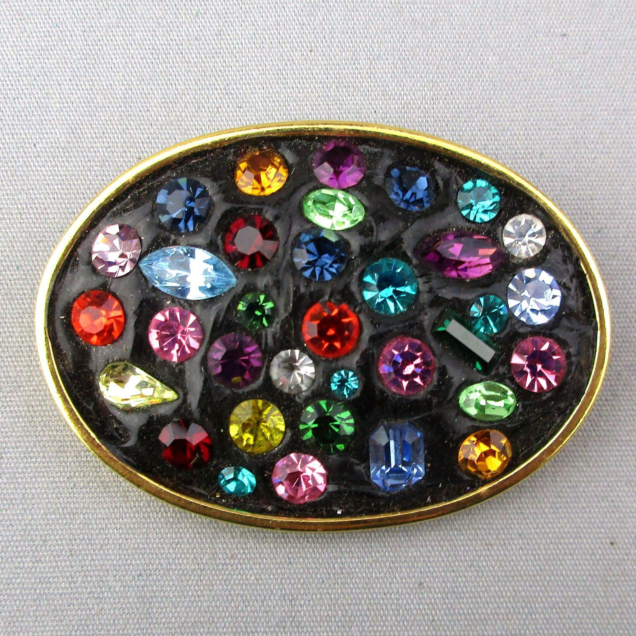 Vintage Rhinestone Pin - Multi-Color Stones in Black Glass