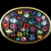 Vintage Rhinestone Pin - Multi-Color Stones in Black Glass